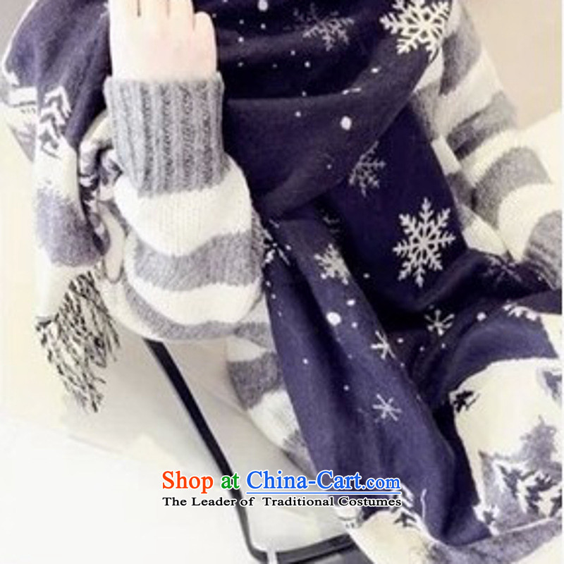 The Korean version of autumn and winter thick snow castle simulation duplex shawl cashmere warm a couple of men and women of the scarf snowflake Tibetan Blue