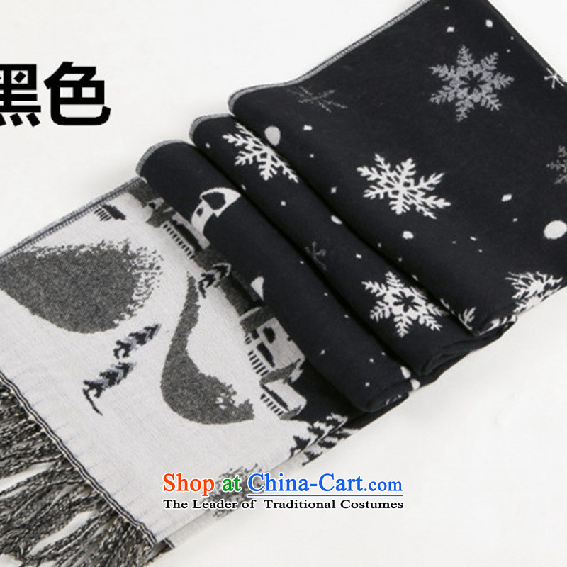The Korean version of autumn and winter thick snow castle simulation duplex shawl cashmere warm a couple of men and women of the scarf snowflake black