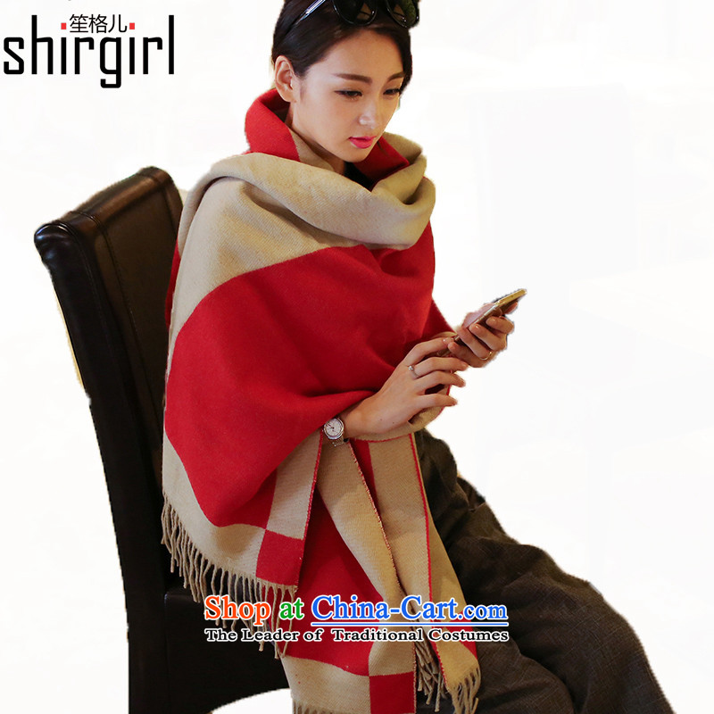 His Excellency Sandra (shirgirl Grid) won the grid Fancy Scarf two version with women on both sides of the thick warm emulation cashmere autumn and winter duplex a diagonal grid70*210cm red