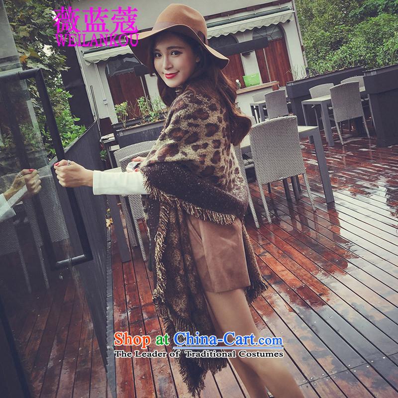 Ms Audrey EU blue autumn and winter 2015 Coe new Korean wild big temperament Leopard Thick edging strip Fancy Scarf Brown