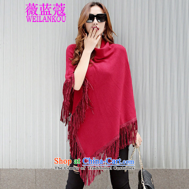 Ms Audrey EU COE 2015 Korean blue autumn and winter new cloak shawl sweater relaxd large streaming su solid color sweater shawl female jacket wine red