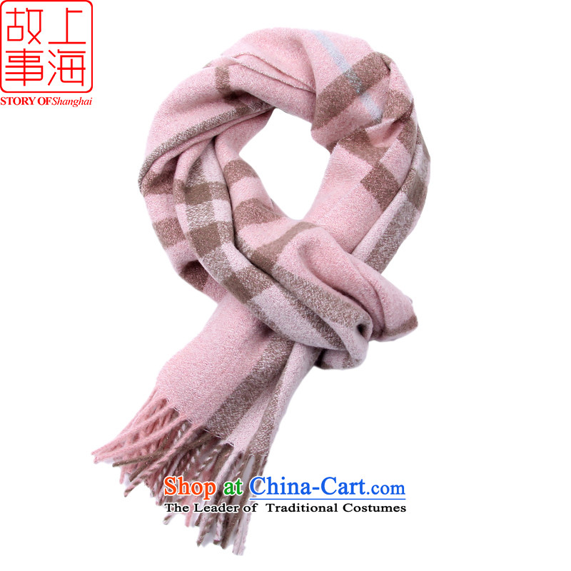 Shanghai Story new president autumn and winter warm gold Wire Grid mixed lint-free wool Fancy Scarf 177071 a pink