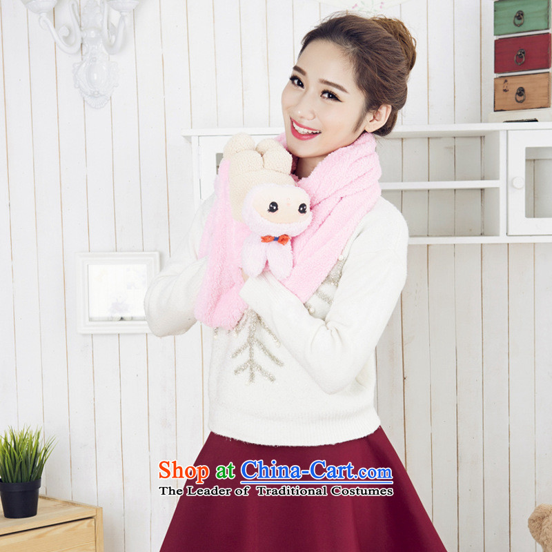 The Korean version of the 2015 autumn and winter cartoon lovely animated a scarf winter addition girlfriend rabbit Pink