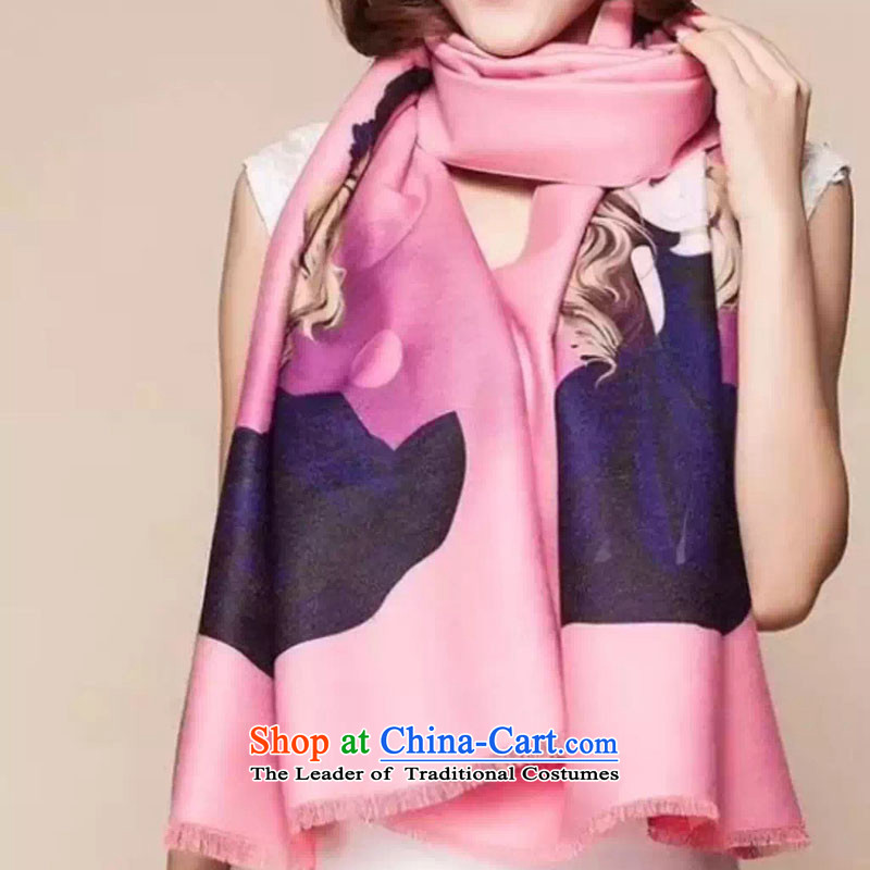 The autumn and winter Western Barbie dolls thick warm Ms. pashmina little girl students cartoon shawl two with pink