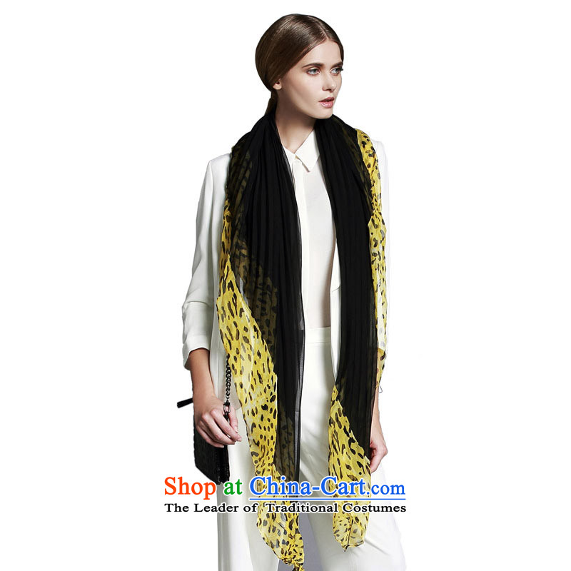 Mrs Ure (she's) Leopard stitching wrinkled chiffon silk scarves herbs extract and classy towel SSL9719104B0 yellow