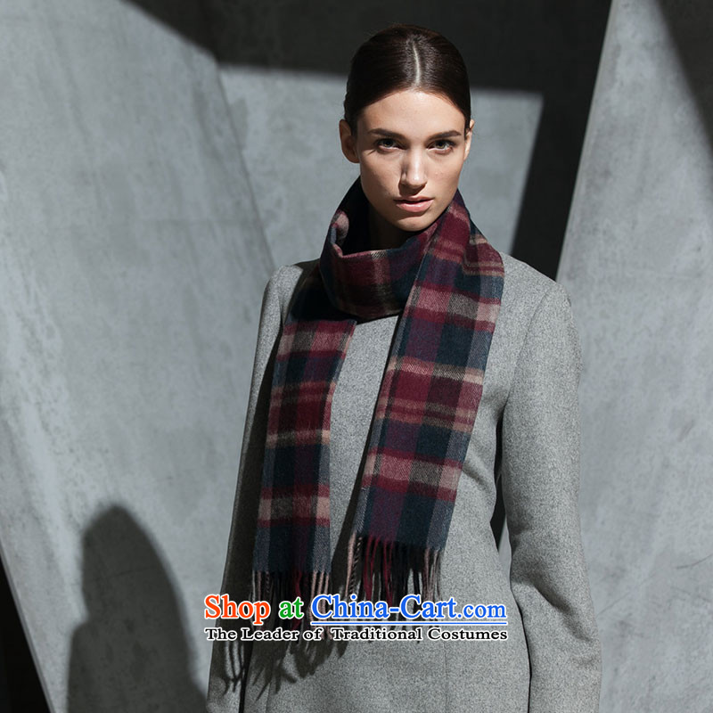Hengyuan Cheung wooler scarf wine red brown grid 50M15326