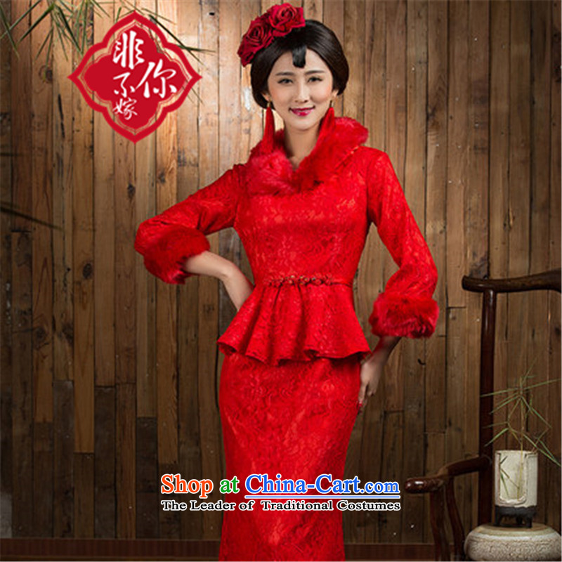 Non-you do not marry red qipao 2015 autumn and winter new long-sleeved long marriage ceremony of Chinese clothing bows to the wedding dress red燣