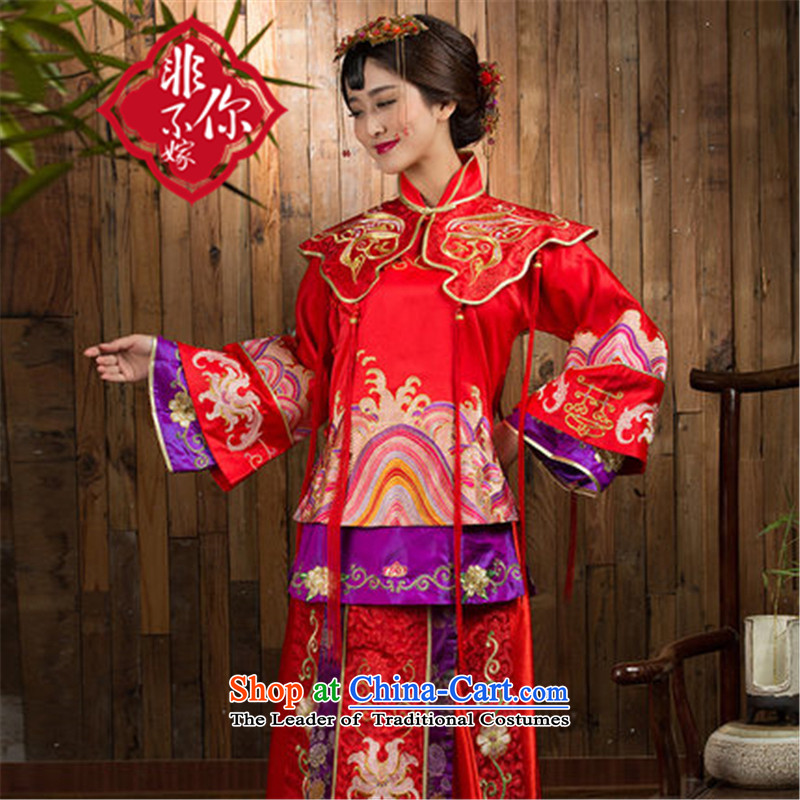 Non-you do not marry autumn and winter New Sau Wo Service Red Chinese wedding long-sleeved long wedding dress bridal dresses red燣