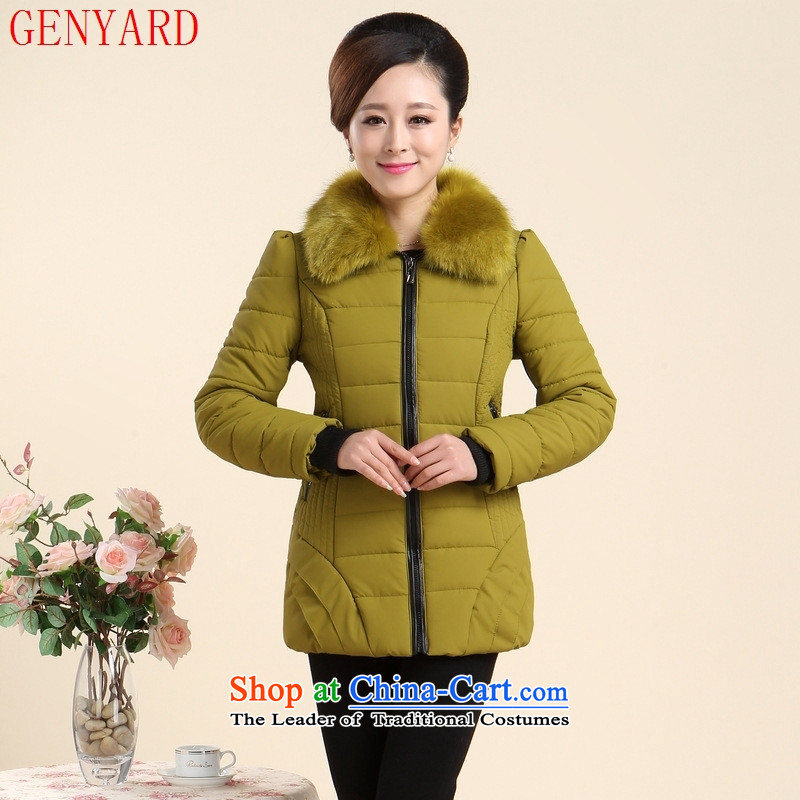 Genyard2015 autumn and winter new elderly mother casual style cotton jacket gross black聽XXL