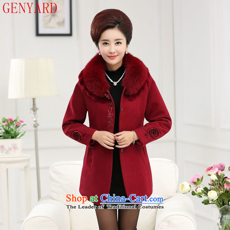 Genyard2015 autumn and winter in the New Age Beauty? coats mother load gross comfortable ironing drill jacket laffey gross??xxxxl red