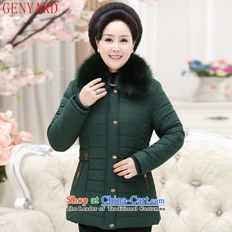Genyard205 autumn and winter in the new leader, extra thick cotton older gross jacket with comfortable warm mother coat Qiu Xiang燲XXL green