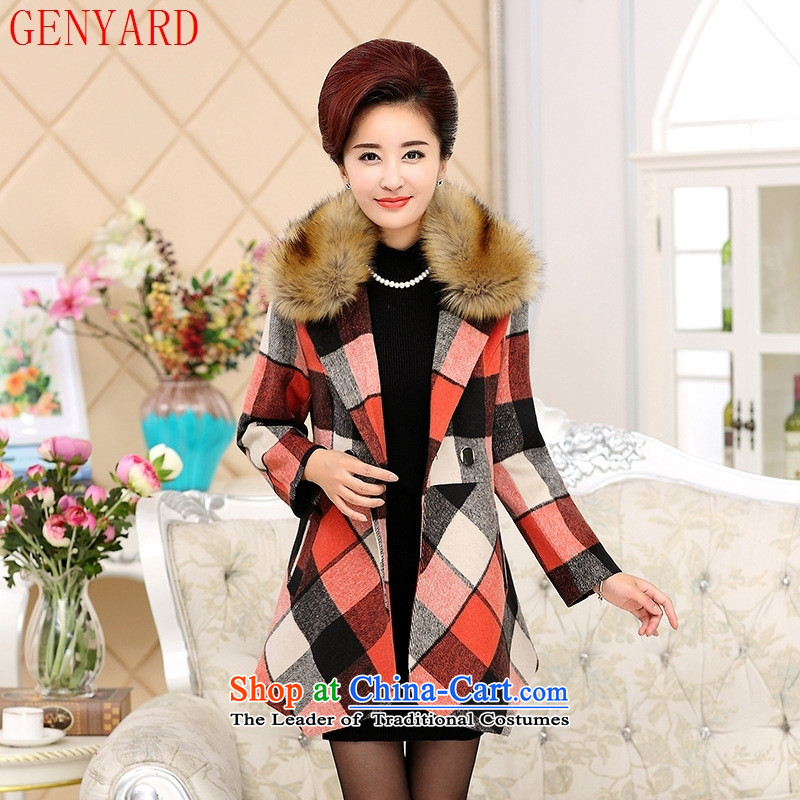 The fall in the number of older mother GENYARD2015 casual stylish latticed gross Sau San? For coats green爔xxxl gross