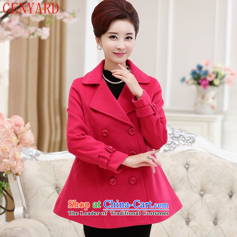 The fall in the new GENYARD2015 elderly mother with double-sided shun leisure gross pink jacket??XXL