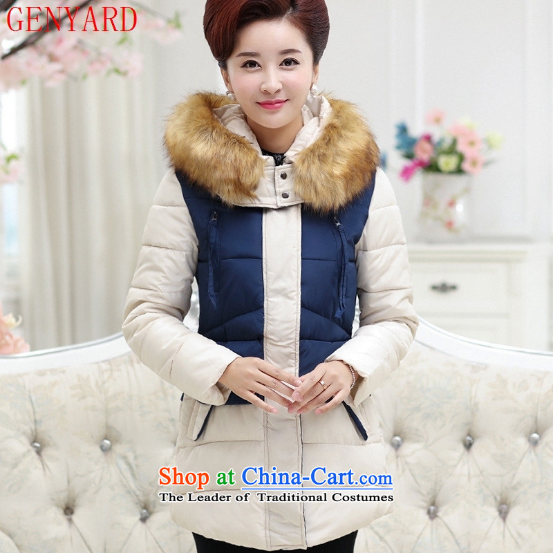 The elderly in the autumn and winter GENYARD2015 in Long Hoodie MOM pack for comfortable cotton wool black聽XXL