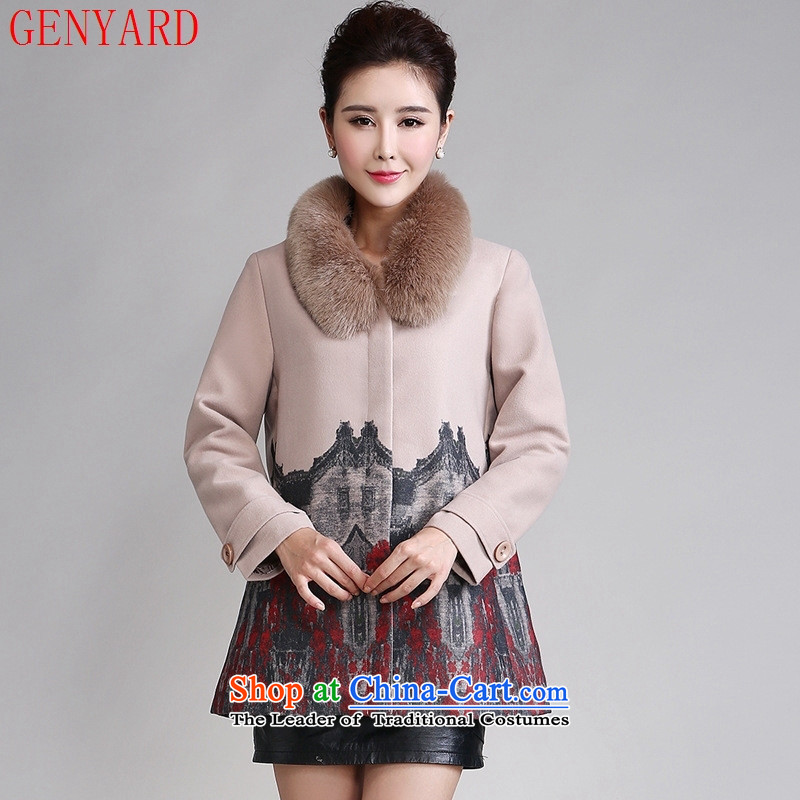 The fall in the new GENYARD2015 older house gross stamp? double-side load mother coat stamp jacket beige?XXL