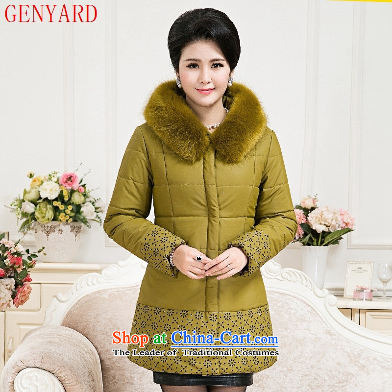 The fall in the new GENYARD2015 older comfort with cap warm coat in the mother long cotton jacket red?XL