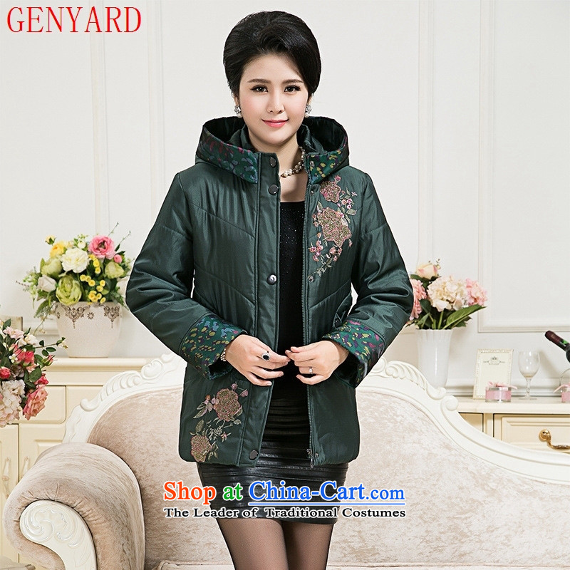 The fall in the new GENYARD2015 embroidered thick cotton older MOM pack comfortable and relaxing warm coat dark green燲L