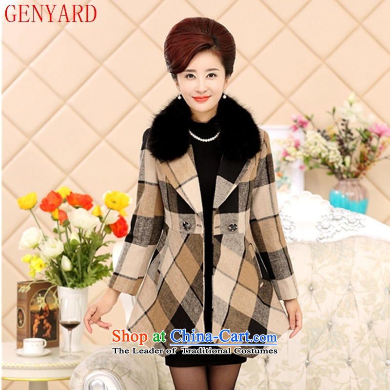 The fall in the new GENYARD2015 older gross for grid coats jacket with stylish coat jacket mother爔xxxl red