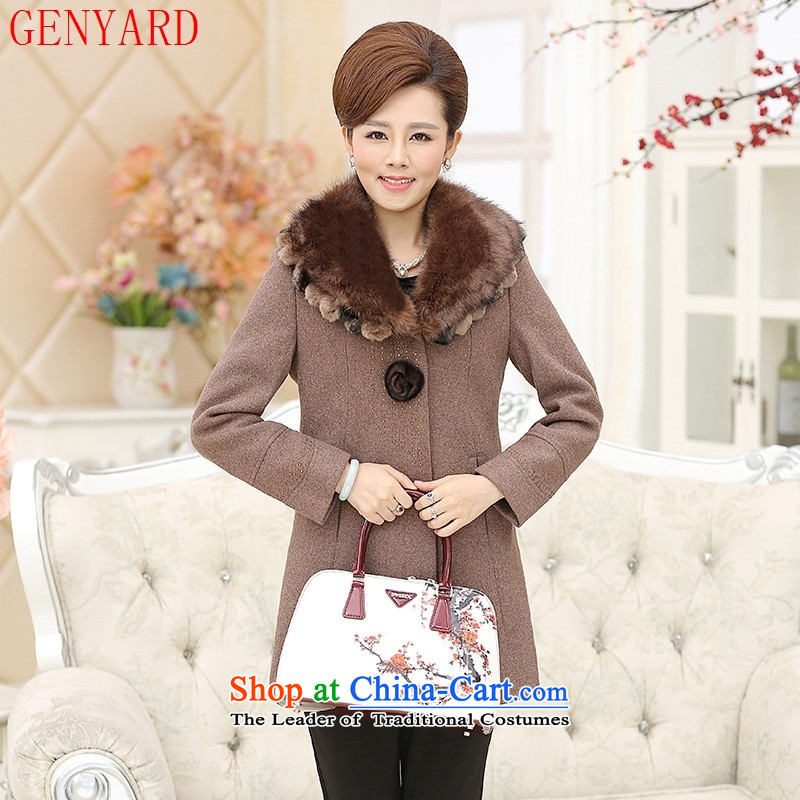 The fall in the new GENYARD2015 older pure color in long ironing drill Gross Gross load mother coat?? The Red?XXXXL Jacket