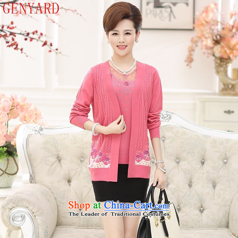 In the number of older women's GENYARD2015 autumn Knitted Shirt with autumn shirt middle-aged mother two kits pink?XL