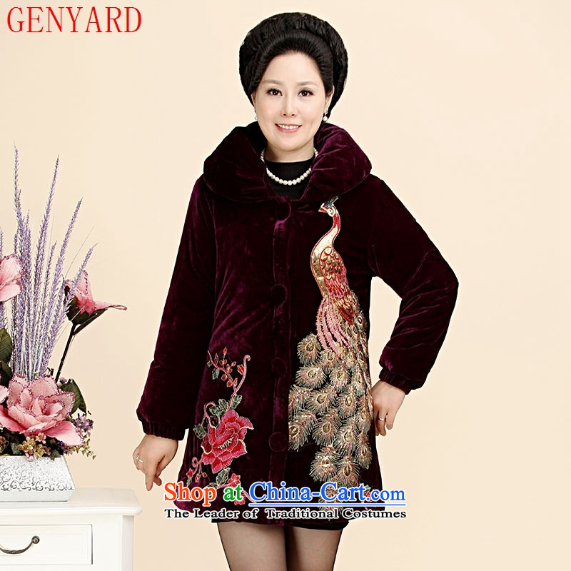 The fall in the number of older cotton GENYARD2015 mother in long jacket embroidered Phoenix velvet Kim robe blue?XL