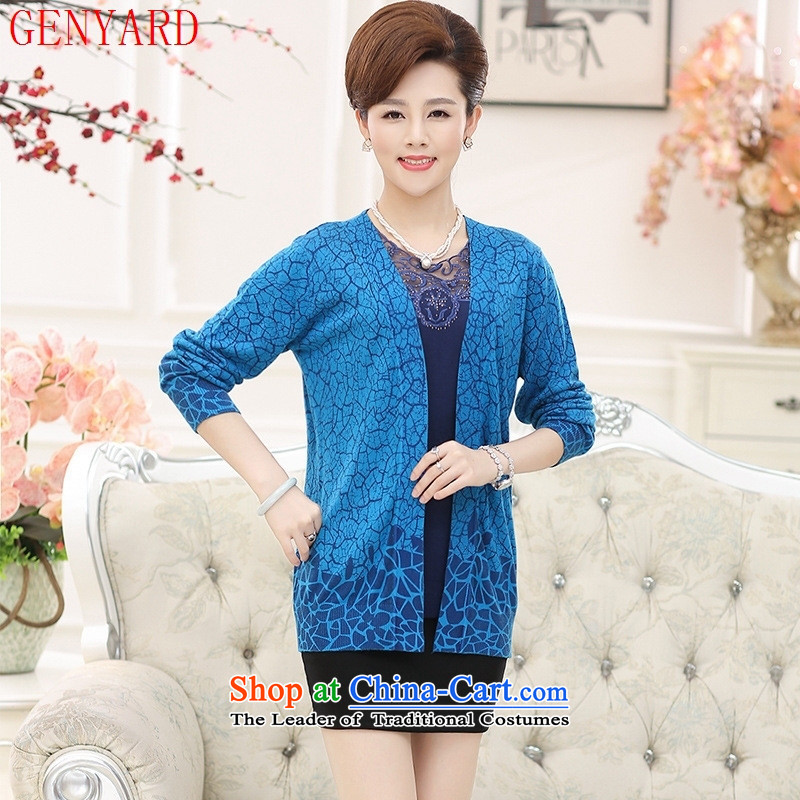 Ms. older GENYARD2015 knitwear round-neck collar long-sleeved Two Piece Diamond mother jackets in red�XL
