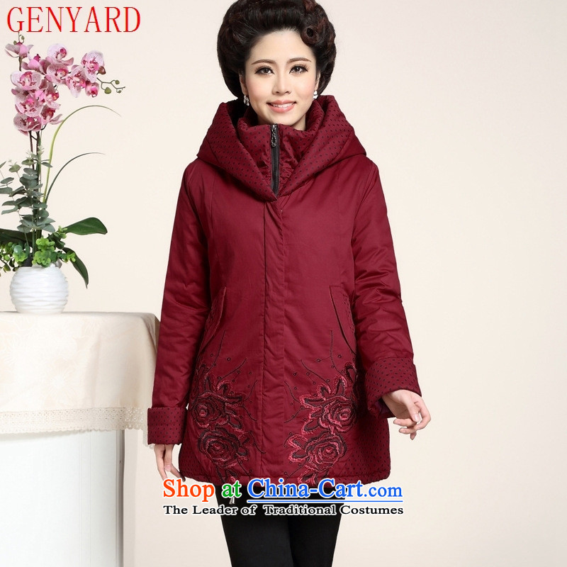 The fall in the new GENYARD2015 older cap comfortable cotton waffle pack warm cotton mother coat聽xxxxl black