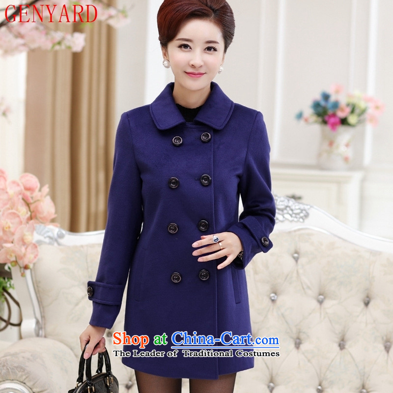 The fall in the new GENYARD2015 elderly mother in long roll collar double-blue lake jacket? gross?XXL