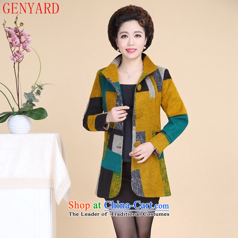 The fall in the new GENYARD2015 elderly mother replacing stitching grid in the long hair? Jacket Qiu Xiang�xxxxl Wong