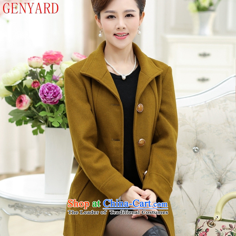 In the autumn of New GENYARD2015 long_ Older MOM pack stitching stylish gross燲XXL sapphire blue jacket?