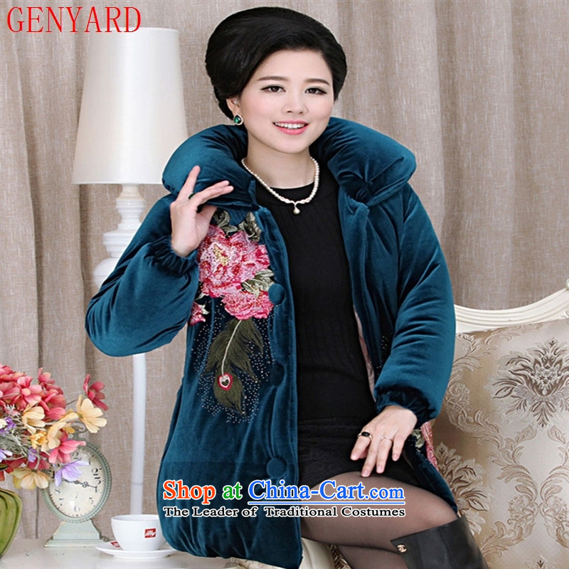 The fall in the new GENYARD2015 older Kim scouring pads ironing peony flowers cotton drill with thick cotton mother red燲L