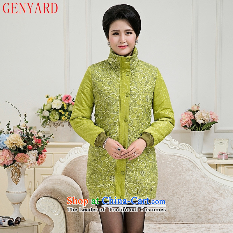 The fall in the new GENYARD2015 elderly mother in warm and stylish with a comfortable cotton long jacket embroidered�xxxxl green fruit