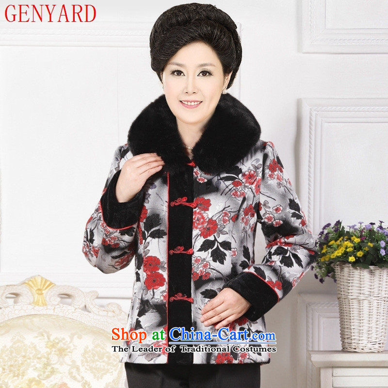 In the number of older women's GENYARD winter clothing cotton coat mother jackets middle-aged female installed China wind 40-50-year-old older persons wearing red�4XL