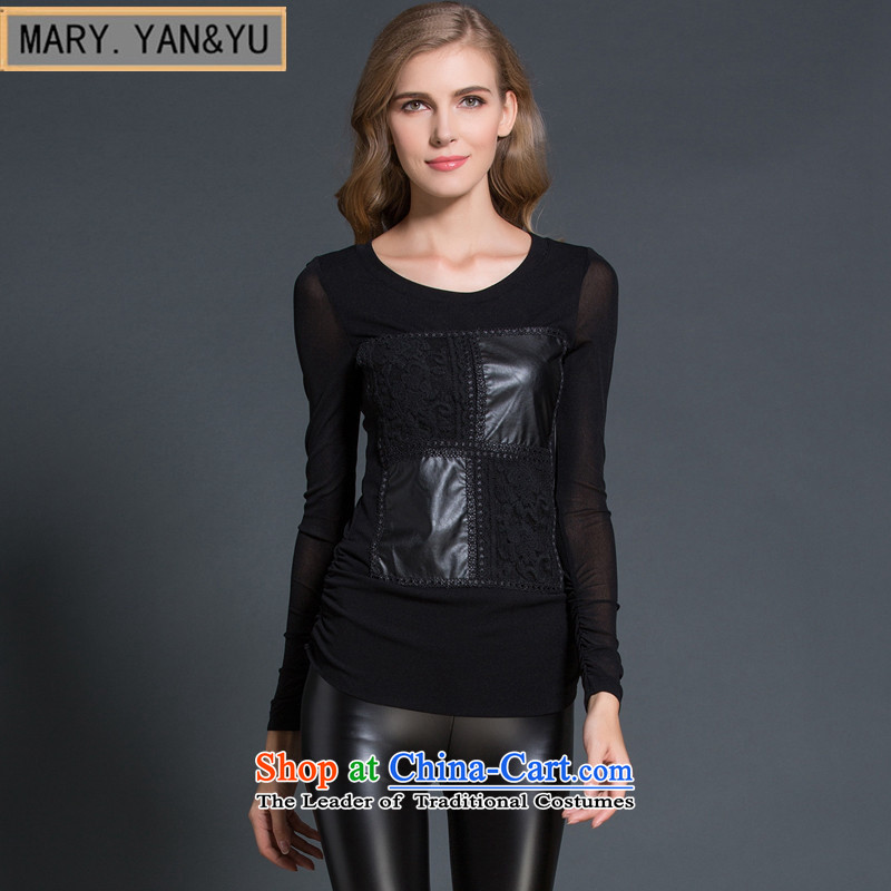 Mano-hwan's European site large 2015 NEW T-shirt lace stitching long-sleeved shirt women wear elastic thick MM BLOUSES Photo Black�M