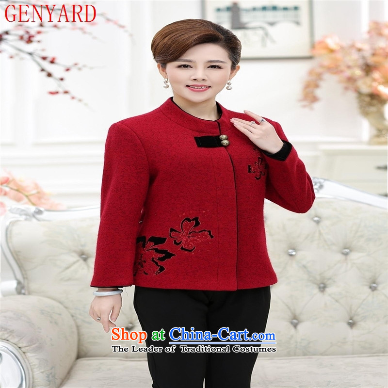 Gross new GENYARD2015 older women in this jacket Tang dynasty on chip_ Red聽XXXXL Upgrade Embroidery