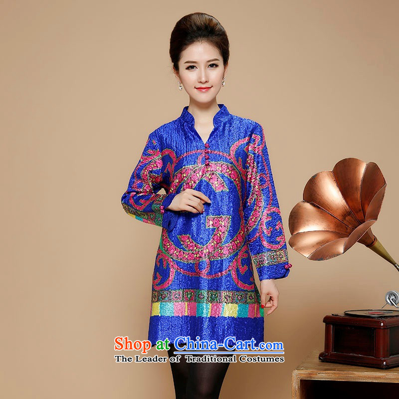 2015 Autumn and Winter, silk linen in long sleeve and dresses in Tang Dynasty older retro Embroidery Stamp skirt middle-aged ladies minimalist wild blue燲XXL skirt