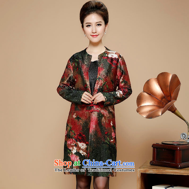 2015 Autumn and Winter, stylish leisure. Ms. older silk linen Tang dynasty windbreaker temperament round-neck collar installed MOM Sau San retro stamp in long jacket coat retro燲XL