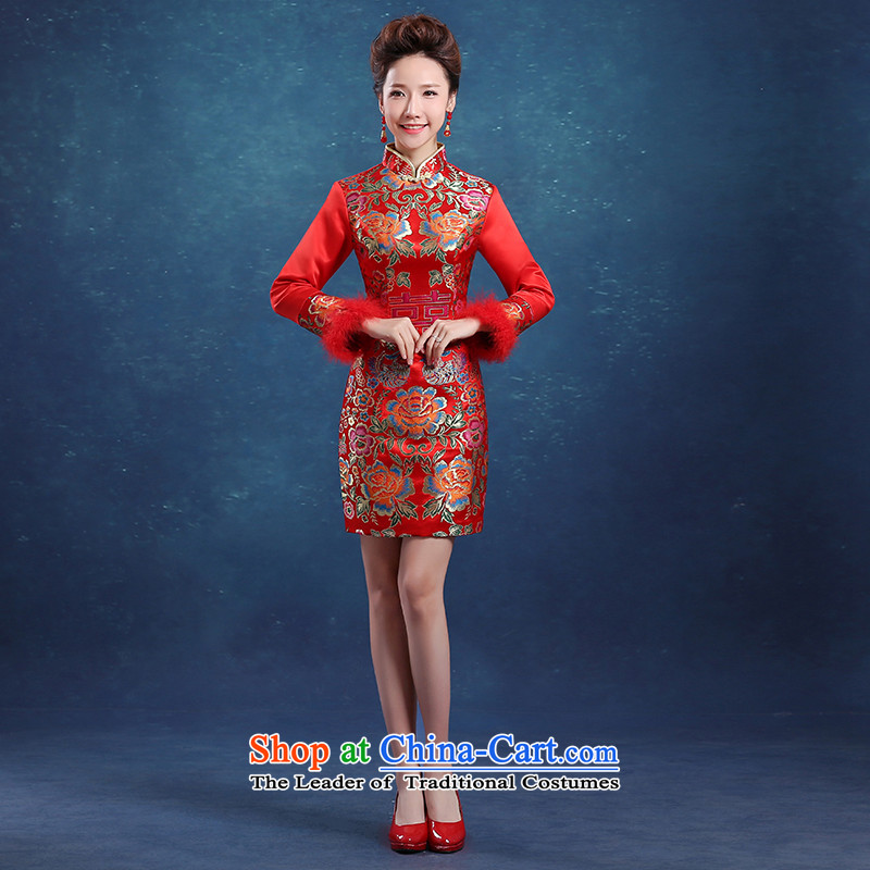 Toasting champagne bride services 2015 New Red Qipao Length of Sau San wedding dress thickened long-sleeved Chinese female autumn and winter red�L