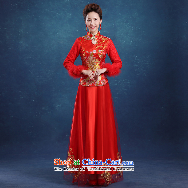2015 new bride wedding dress CHINESE CHEONGSAM red long service to the dragon use soo drink wo service of autumn and winter RED燤