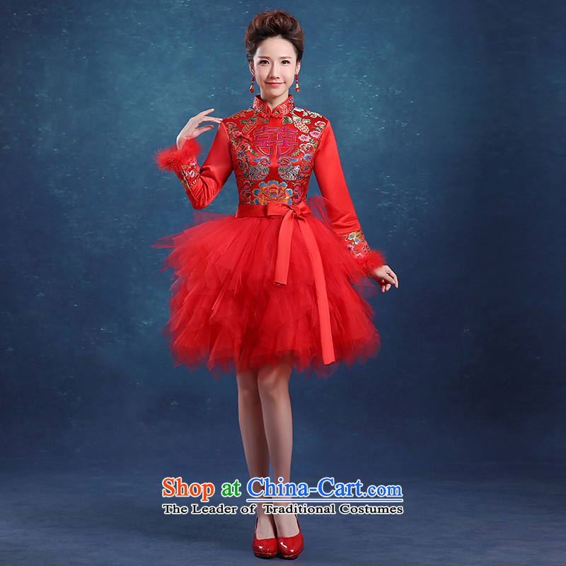 The knot true love bows of qipao short service 2015 autumn and winter new bride wedding dress long-sleeved red red燤 qipao and stylish