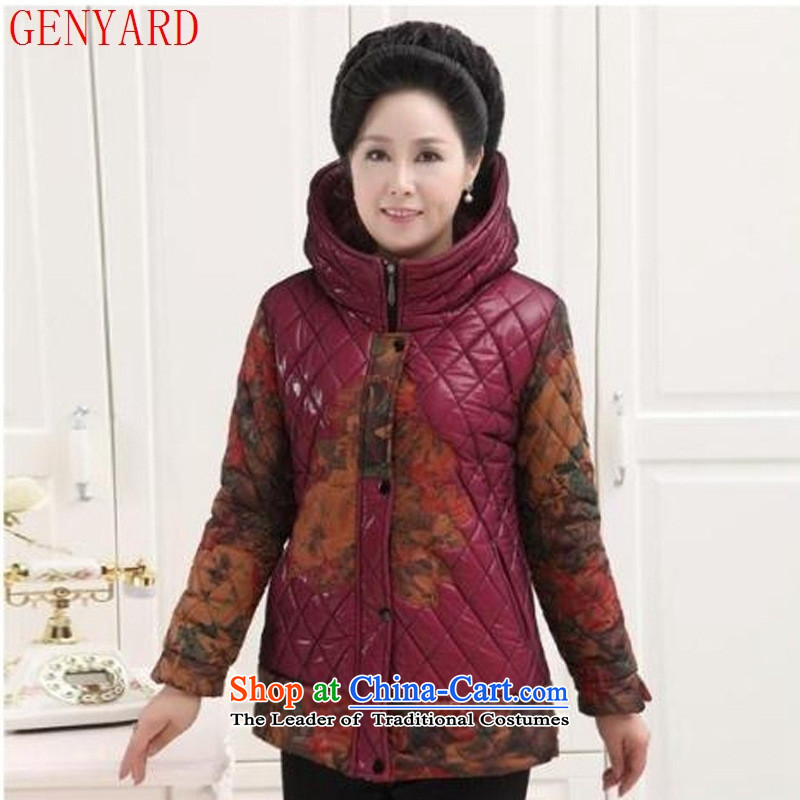 The elderly in the autumn and winter GENYARD replacing middle-aged women code 泾蜮 female clearance cotton coat women thick red jacket Ms. robe燲XL