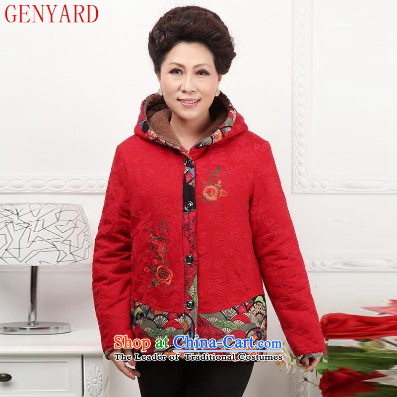Replace the spring and autumn in GENYARD girl mothers with autumn load coats of older persons long-sleeved clothing grandma blouses elderly clothing increased XXXL red
