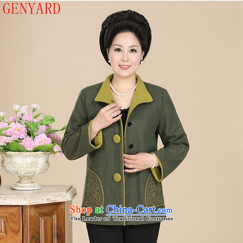 The elderly in the new GENYARD women during the spring and autumn large suits for gross and large? mother blouses Black燲L