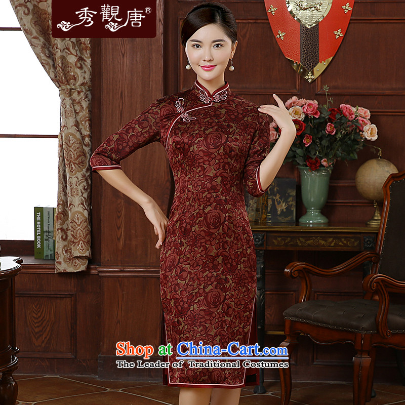 [Sau Kwun Tong] Red Ying Qiu New) 2015 High silk yarn in the cloud of incense retro cuff cheongsam dress improved stylish red?L
