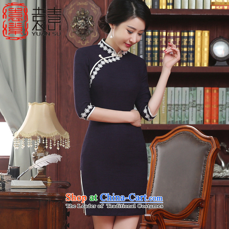 Mr Yuen So Selena�2015 Antique Lace stitching qipao autumn replacing improved cheongsam dress female stylish 7 cuff new ZA3M12 cheongsam dress dark blue�S