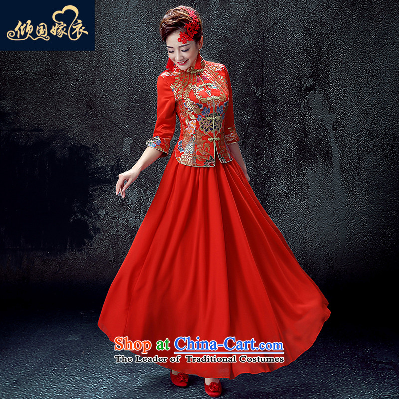Red bows service bridal dresses Fall/Winter Collections Of Chinese wedding dress 2015 new long large stylish wedding dress red?XL
