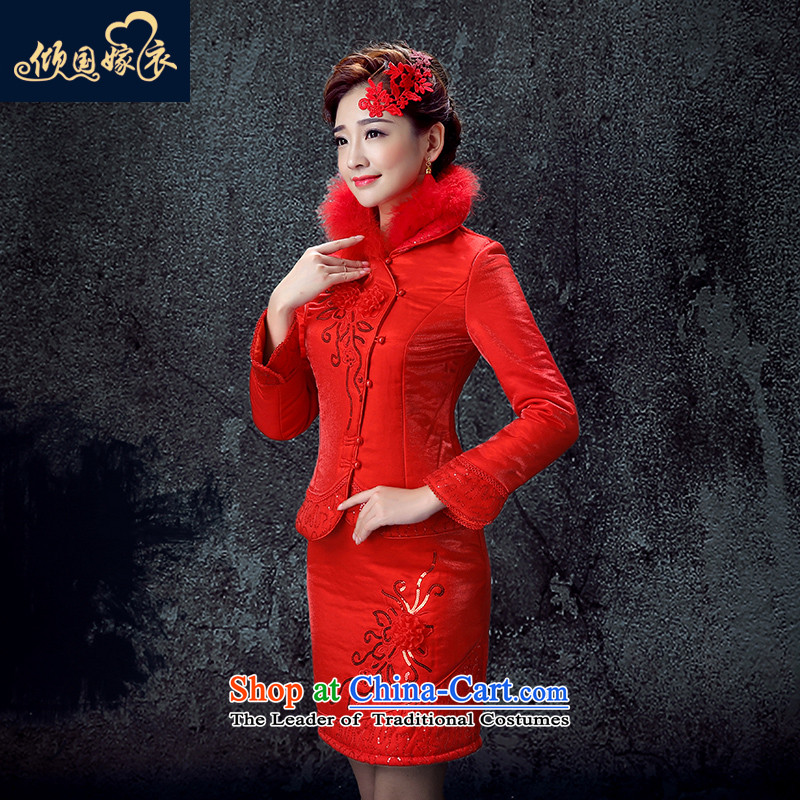 The bride bows service long-sleeved wedding dress the new 2015 cotton robes of autumn and winter short stylish red female red燲XL