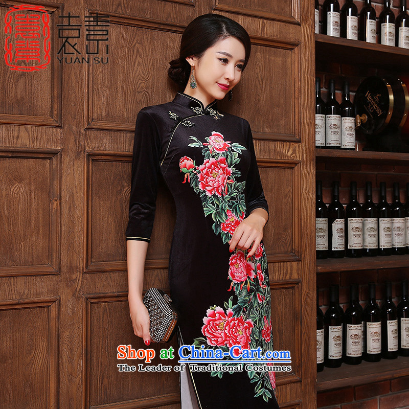 Yuan of flowers fall 2015 retro scouring pads in long qipao of daily improved cheongsam dress cheongsam dress new Ms. ZA3R13 black XXL