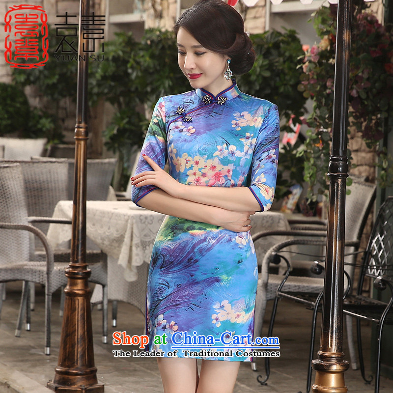 Yuan of Maehyang-?2015 new cheongsam with improved qipao autumn dresses double retro style qipao skirt?ZA3S09 Ms.?Blue?M