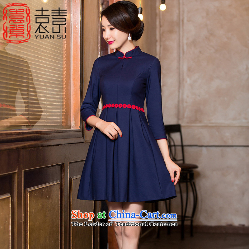 Mr Yuen so covered in�2015 improved cheongsam dress female autumn replacing cheongsam dress new seven-sleeved cotton bride wedding services�HY6088 bows�dark blue�L